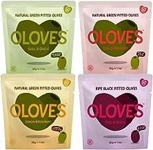 Oloves Natural Pitted Olives Variety Pack of 24 - Gluten-Free Vegan Basil & Garlic, Chili & Oregano, Lemon & Rosemary, & Chili & Garlic