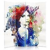 Feeby Frames Biombo Impreso sobre Lona, tabique Decorativo para Habitaciones, a una Cara, de 4 Piezas (145x150 cm), Mujer, Multicolor