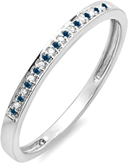 0.10 Carat (ctw) 10K White Gold Round Blue & White Diamond Ring Wedding Band 1/10 CT (Size 8.5)