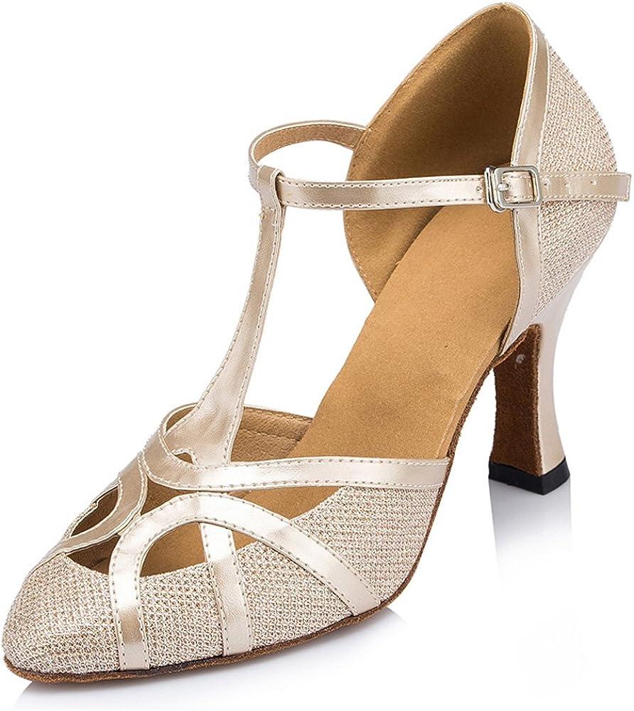 Honeystore Women's Closed Toe T-Strap Latin Dance Shoes Mid-Heel