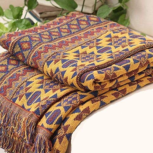 Bohemian Sofa Throw Blanket with Tassels, 100% Handwoven Cotton Knitted Armchair Throw for Couch, Sofa and Bed (90 * 90CM)…