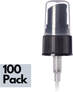 100 Qty - 20/410 Neck Fine Mist Spray Caps | 5 1/4 tube, Black with Ribbed Neck | Bullet Boston Rounds | Essential Oil Bottle Tops | Travel | Perfume | Refill (100)