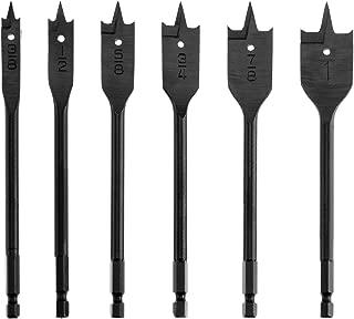 Spade Drill Bit Set, SUNGATOR 3/8-Inch to 1-Inch High Speed Flat Wood Boring Bits, Quick-Change Hex Shank, 6-Piece
