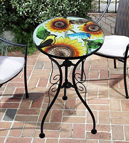 Iron/Glass Round Mosaic Design Side Table Garden Outdoor Patio Flower Plant Stand (Sunflower)