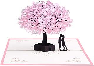 Formemory ポップアップカード グリーティングカード 桜 メッセージカード 立体 手工 3D 誕生日 クリスマス祝い 感謝状 結婚祝い 新居入居祝い 和風 お正月 寄せ書き ギフト 新年 バレンタインデー (桜カップル)