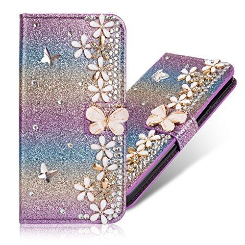 Magnetverschluss Bookstyle für Huawei Y6 2019 /Honor 8A,Diamond Sparkle Funkeln Bling Glitter Glitzer Ledertasche Stand Funktion Kartenfach Slim Klassisch Modisch Flip Wallet Hülle