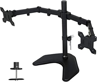 WALI Free Standing Dual LCD Monitor Fully Adjustable Desk Mount Fits 2 Screens up to 27 inch, 22 lbs. Weight Capacity per Arm, with Grommet Base (MF002), Black