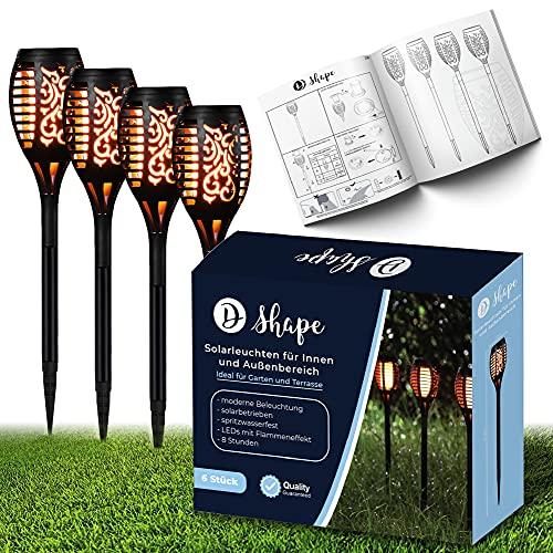 Solar-Lampen für Außen, Solar-Leuchten Garten wetterfest, LED Aussen-Beleuchtung für Balkon und Terrasse, Outdoor Solar-Lichter, Deko Garten-Fackel, 49cm 6 Stück (4 Stück)