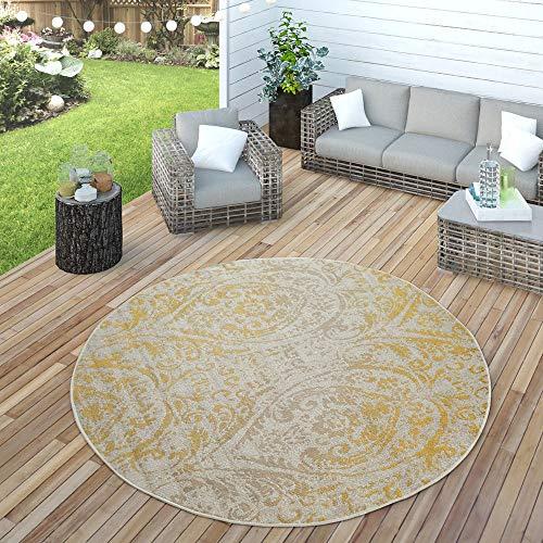 Paco Home In- & Outdoor Teppich Modern Shabby Chic Stil Terrassen Teppich Wetterfest Gelb, Grösse:Ø 160 cm Rund