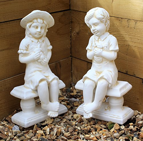 Large Cherub Garden Ceramic Ornament set Figure antique White little Girl & Boy