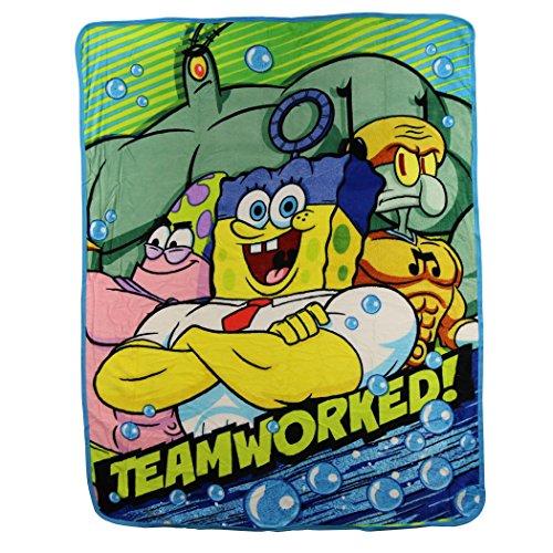 Kids Super Plush Sherpa Throw Blanket, 46x50-Inch (Spongebob Squarepants 'Teamworked')