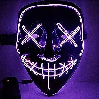 Love MAX Halloween LED Mask Purge Masks Election Mascara Costume DJ Party Light Up Masks Glow in Dark 10 Colors to ChoosePurple