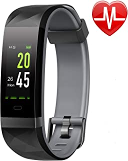 Lintelek Fitness Tracker Color Screen Heart Rate Monitor Activity Tracker, Calorie Counter, Smart Wristband, Pedometer IP68 Waterproof Stable Connection Kid Women Men, Android iOS (Gray)