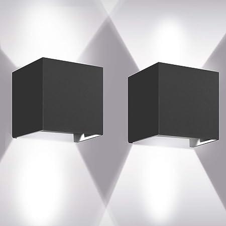 Appliques Murales 12W, 2pcs 6000K LED Applique Murale Exterieur/Interieur, Réglable Applique Mural Exterieur, Anti-Eau IP65 Lampe Murale Interieur pour Chambre Maison Couloir Salon