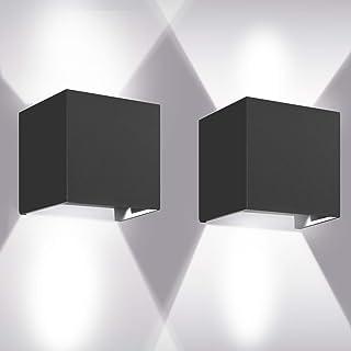 Appliques Murales 12W, 2pcs 6000K LED Applique Murale Exterieur/Interieur, Réglable Applique Mural Exterieur, Anti-Eau IP6...