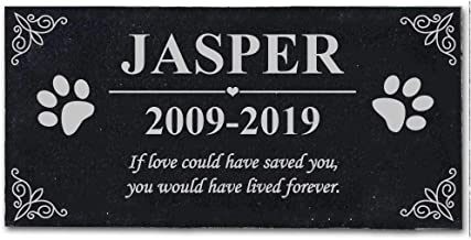 BJSM Personalized Memorial Stone Plaque with Your Photo for Dog Cat - Duarble & Water Proof - Garden Grave Marker … (Text Customization)