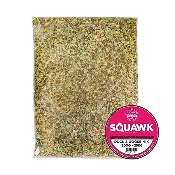 SQUAWK Duck & Goose Mix | Premium Grade Wild Bird Food | Tasty Outdoor Wildlife Snack | Nutritious, Protein-Rich Feed | Naturally Blended Ingredients | Corn, Grains, Wheat, Oils, Vitamins
