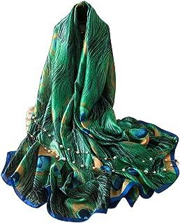 Bodhi2000 Moda Femminile Pavone Stampa Piuma Sciarpa Lunga Avvolgere Coprispalle Spiaggia Da Viaggio Scialle