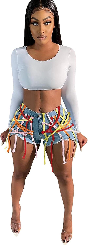 Women's Denim Shorts Bandage Frayed Raw Hem Tassel Distressed Ripped Bodycon Split Hot Shorts