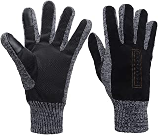 Cold Weather Touch Screen Warm Gloves Black ThermalMittens Covering Full Fingers in Winter Outdoor for Cycling DrivingHiking, Anti-Skid Gloves with Silicone Gel Particles,Runing for Men and Women