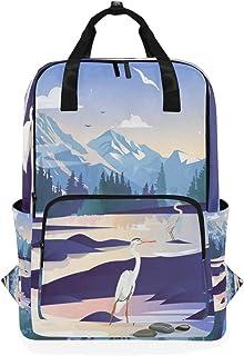 DEZIRO Cranes Snow Mountain - Mochila de Hombro Informal