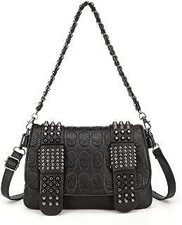 LOYOMA Womens Skull Print Rivet PU Leather Shoulder Bags Tote Purse Handbag (Black Style-2)