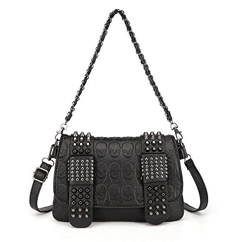 d322205cfd7e LOYOMA Womens Skull Print Rivet PU Leather Shoulder Bags Tote Purse Handbag