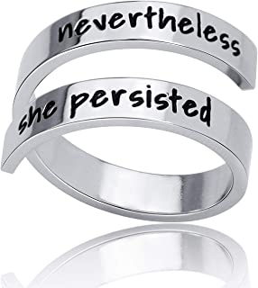 Inspirational Gifts Stainless Steel Ring Jewelry Keep Going