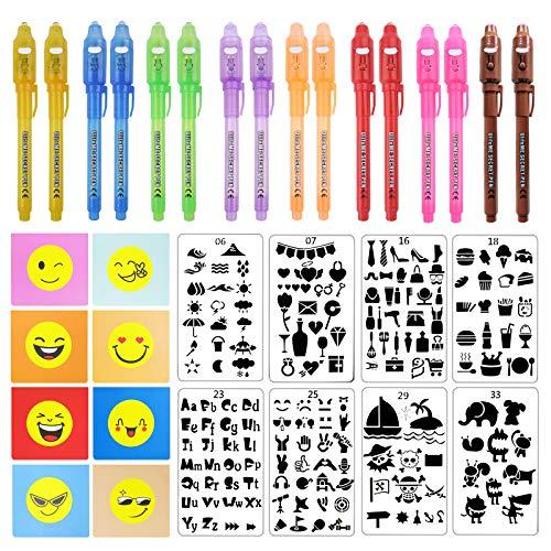 Ulifeme 16 Piezas Boligrafo de Tinta Invisible con Luz UV + 8 Piezas Libreta + 8 Tipos de Plantillas de Dibujo para Niños, Rotuladores Invisibles Luz Ultravioleta Kit Regalo para Cumpleaños & Fiesta