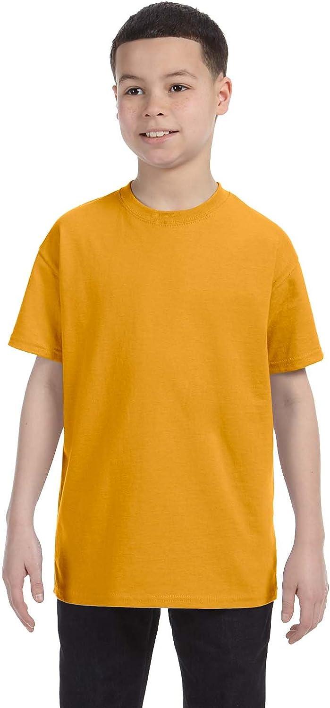 Hanes Youth Lay Flat Collar Tagless Cotton T-Shirt, Gold, Small