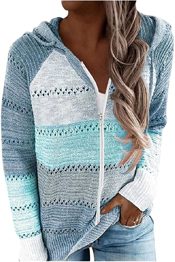 Haheyrte Hoodies for Womens Women Casual Patchwork Long Sleeve Hooded Sweater Cardigan Casual Sweatshirts Pullover Tops