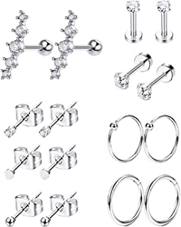 8Pairs Stainless Steel Cartilage Earrings for Women Girls CZ Stud Earrings Tragus Helix Conch Piercing Jewelry Set