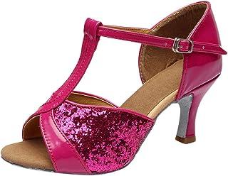 Tefamore Mujeres&Niña Zapatos Latinos de Baile Zapatillas de Baile de salón Salsa Tango Performance Calzado de Danza