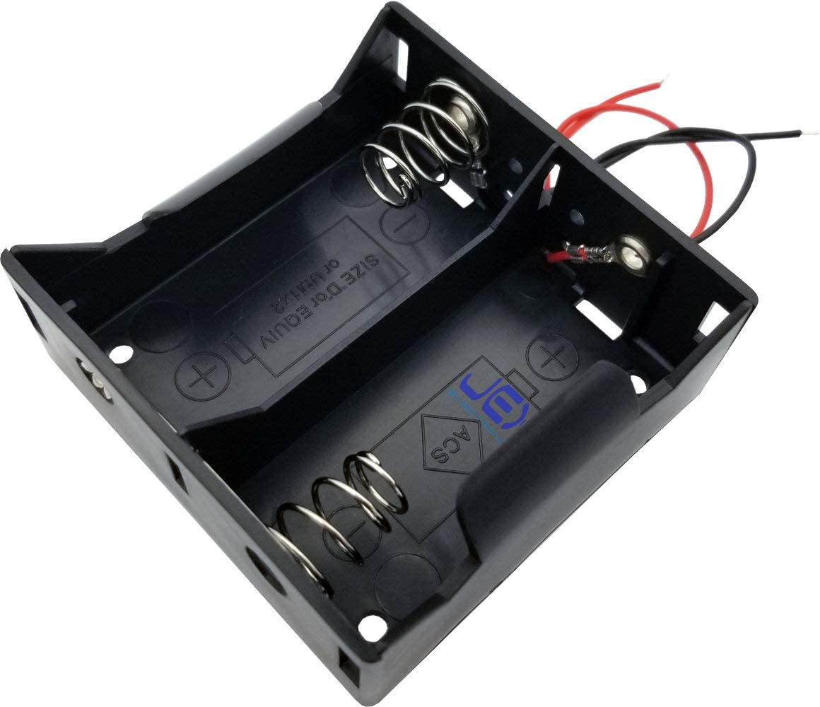 Jex Electronics Two/Twin/2X D DIY Battery Holder Case Box Base 3V Volt PCB Mount with Bare Wire Ends