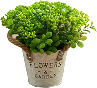 MISBEST Artificial Plants Lifelike Mini Plants Fake Green Grass Flower with Vintage Iron Pots Faux Greenery for House Decorations (Magnolia)