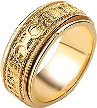 JAJAFOOK Men's Vintage Stainles Steel Tibetan Buddhist Six True Syllable Mantra Sanskrit Spinner Ring