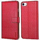 Peakally Cover per iPhone SE 2020/6/6S/7/8, Flip Caso in PU Pelle Premium Portafoglio Custodia per iPhone SE 2020/6/6S/7/8, [Kickstand] [Slot per Schede] [Chiusura Magnetica]-Rosso