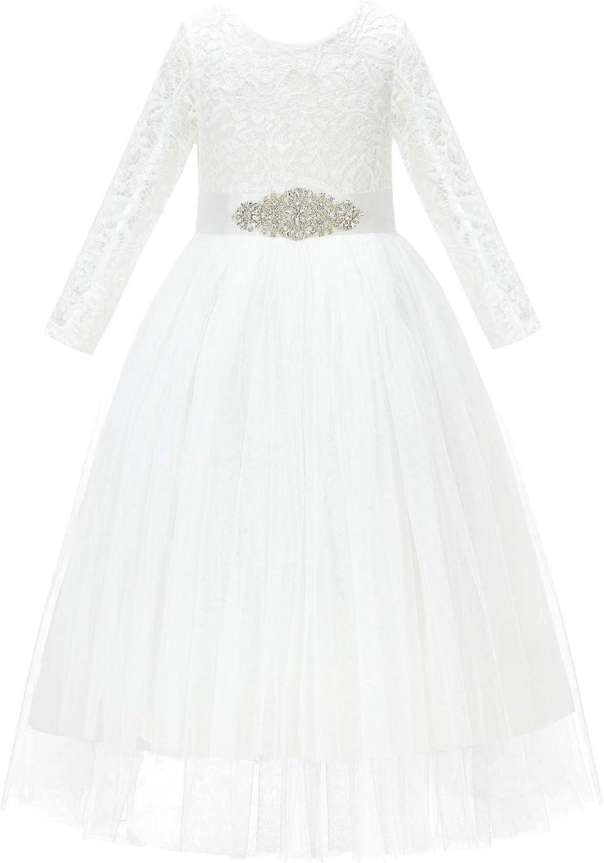 Scalloped Lace Back Formal Flower Girl Dresses Novelty Graduation Wedding
