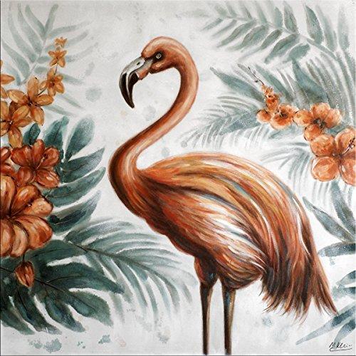 Flamingo Show - Modern olieverfschilderij - Flamingo afbeelding op canvas - Martin Klein - Street Art Schilderij - Flamingo Canvas - Dierenfoto - Modern Art Schilderij - Kunstst online kopen