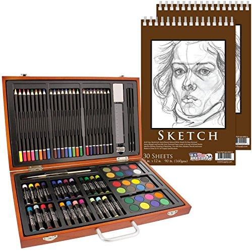 U.S. Art Supply 82 Piece Deluxe Art Creativity Set in Wooden...