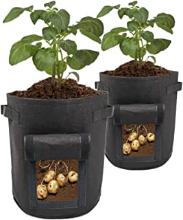 ValueHall Potato Grow Bags Double Layer Non-Woven Cloth Fabric Pots with Handles Window 2 Packs Vegetable Grow Bag V7069 (...