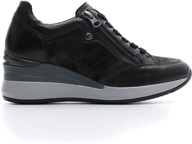 black Giardini Women's A806611D100 Black Leather Sneakers