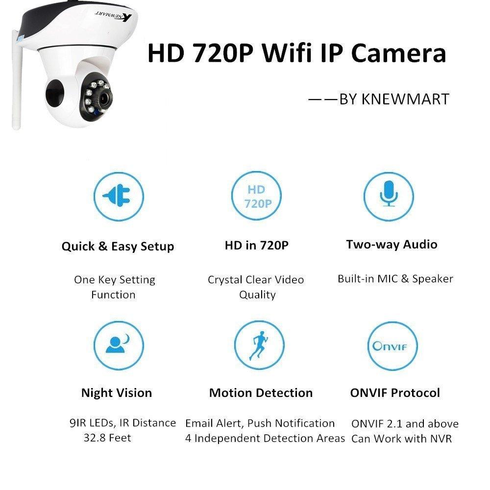 Cámara IP wifi inalámbrico de vigilancia circuito cerrado de televisión de visión nocturna Cámara de vigilancia casera ONVIF, audio de dos vías, visión nocturna, detección del movimiento, función alejada móvil de la