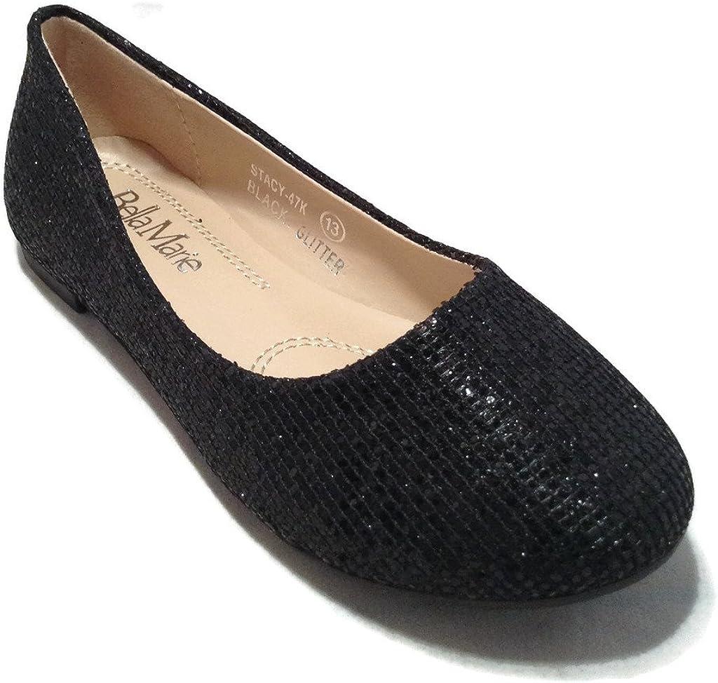 Bella Marie Kids Dress Ballet Flat Slip On Comfortable Ballerina Black Synthetic Glitter Sparkle Shoes 13 US Toddler
