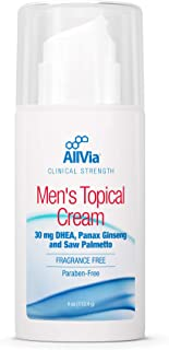 Allvia - Men's Topical Cream - 30 mg DHEA, Panax Ginseng, and Saw Palmetto, Clinical Strength, Fragrance Free, Paraben Fre...