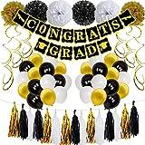 SHLMO Juego de globos para ceremonia de graduación azul y blanco con bandera de graduación de 10 pulgadas, juego de globos de látex dorado