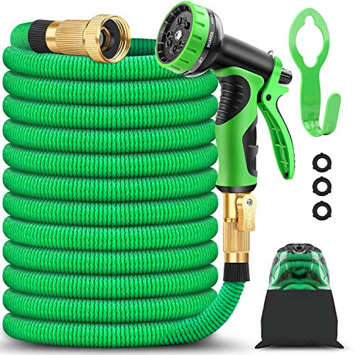 BAZOLOTA Garden Hose, Expandable 50FT Water Hose with 9 Function Nozzle, Flexible Gardening Hose...