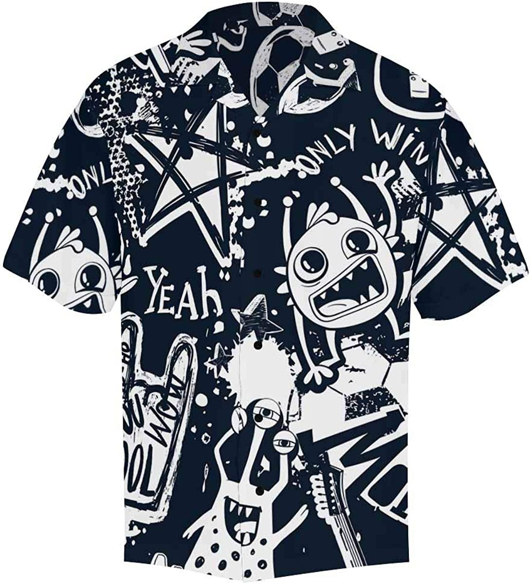 InterestPrint Men's Casual Button Max 44% OFF Down Monster Dallas Mall Short Sleeve with