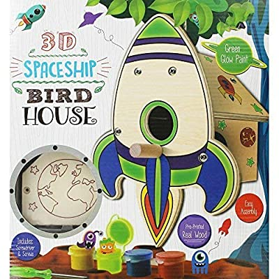 Grafix Make & Paint Your Own 3D Spaceship Birdhouse Craft Activity Kit by RMS International