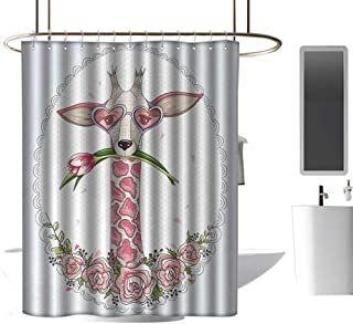coolteey Shower Curtains Tumblr Valentine,Cute Hipster Giraffe with Tulip and Heart Shaped Glasses Vintage Frame,Baby Blue Pale Pink,W36 x L72,Shower Curtain for Women